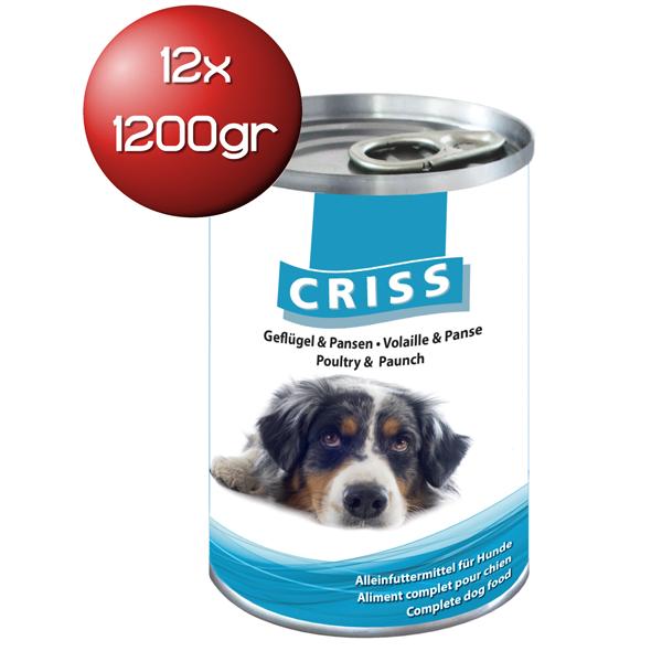 Scatolette per cani Criss bocconcini al Pollame e Trippa 12x1200gr