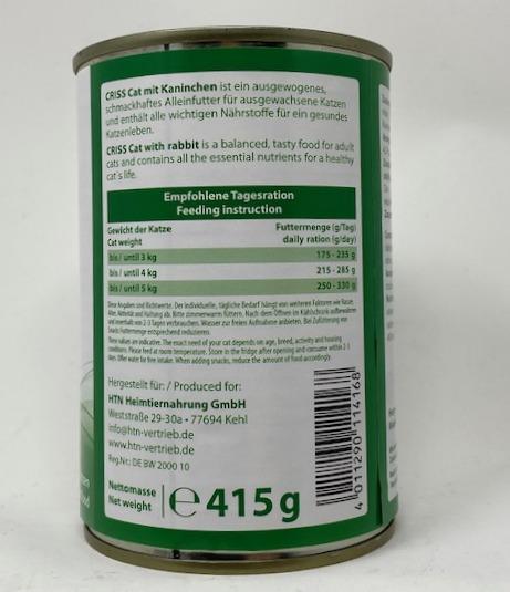 Coniglio in salsa 415 gr Criss cibo umido per gatti (2)
