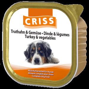 Scatolette per cani CRISS patè di Tacchino e Verdure 18x300gr