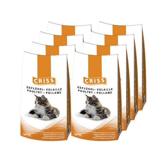 Croccantini per gatti Criss al pollame 8 sacchi da 1kg