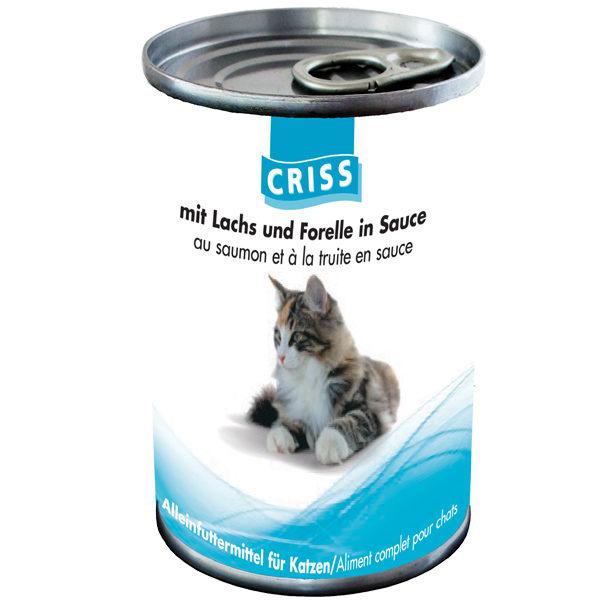 Scatolette per gatti CRISS Salmone e Trota 24x400gr