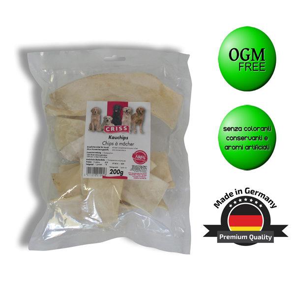 Snack per cani Criss chips di pelle di manzo essiccata